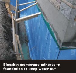 foundation wall with waterproof blueskin membrane